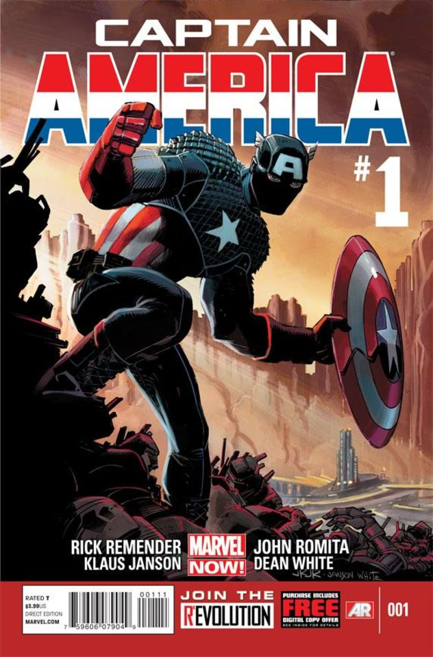 "This comic image released by Marvel Entertainment shows the cover of the upcoming ""Captain America,"" part of Marvel Comics� new initiative aimed at recharging the publisher�s heroes and villains. (AP Photo/Marvel Entertainment)"