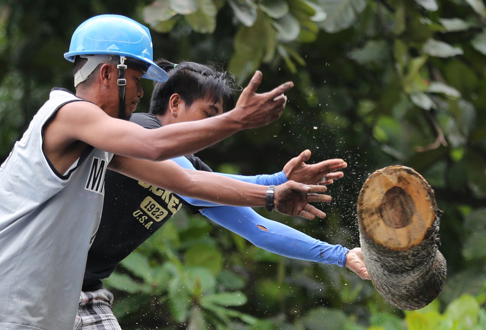 Photo - Workers remove sections of a fallen tree from a damaged house caused by Typhoon Koppu in suburban Quezon city, north of Manila, Philippines on Monday, Oct. 19, 2015. Army, police and civilian volunteers scrambled Monday to rescue hundreds of villagers trapped in flooded homes and on rooftops in a northern Philippine province battered by slow-moving Typhoon Koppu. (AP Photo/Aaron Favila)
