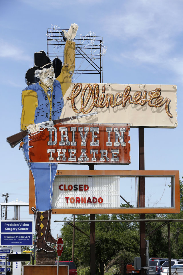 The Winchester Drive-In will be closed until repairs are made after being hit by Friday's tornado outbreak in Oklahoma City. Photo By Steve Gooch, The Oklahoman <strong>Steve Gooch - The Oklahoman</strong>