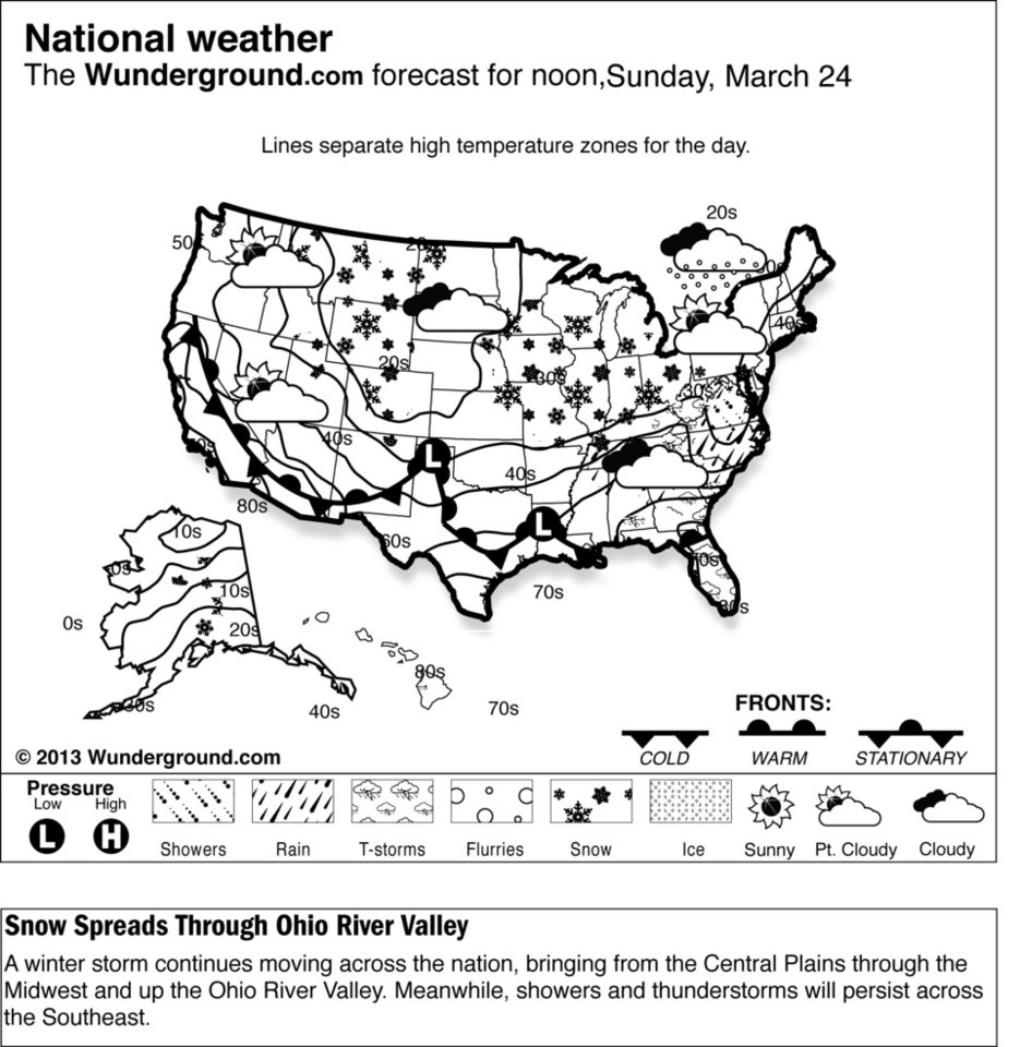 This is the national Weather Underground forecast for the United States, for Sunday, March 24, 2013. A winter storm continues moving across the nation, bringing from the Central Plains through the Midwest and up the Ohio River Valley. Meanwhile, showers and thunderstorms will persist across the Southeast. (AP Photo/Weather Underground)