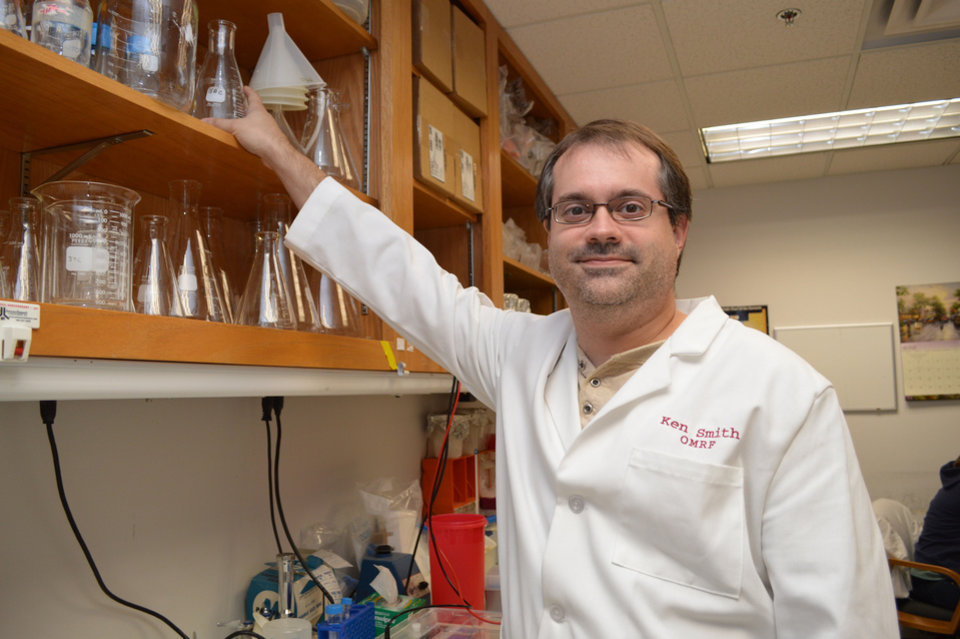 Photo - Oklahoma Medical Research Foundation scientist Dr. Ken Smith is leading a project to create and track antibodies to allergens with a goal of someday creating better therapies to combat allergies. PHOTO PROVIDED.