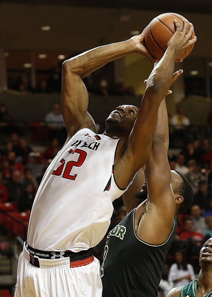 Photo - Texas Tech's Jordan Tolbert, left, shoots over Baylor's Rico Gathers during their NCAA college basketball game in Lubbock, Texas, Wednesday, Jan, 15, 2014. (AP Photo/Lubbock Avalanche-Journal, Tori Eichberger) ALL LOCAL TV OUT