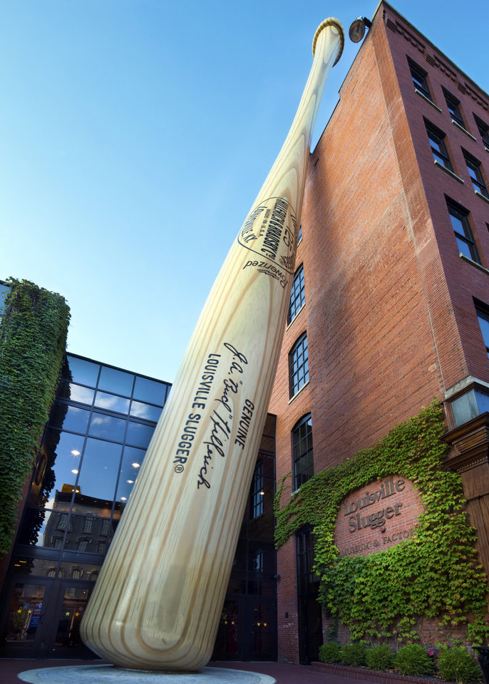 Photo - This undated image released by the Louisville Slugger Museum & Factory shows the exterior of their building. Visitors can trace that baseball heritage along the Louisville Slugger Walk of Fame, stretching about a mile from the Louisville Slugger Museum & Factory to the city's minor-league ballpark. (AP Photo/Hillerich & Bradsby, James Moses)