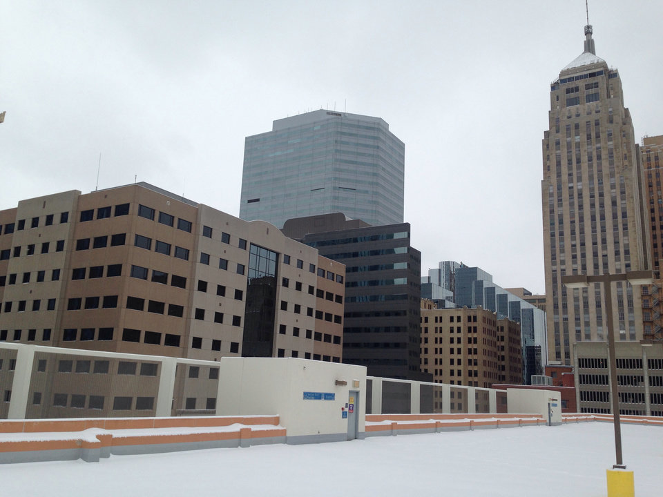 Photo - Matt from NewsOK here. As of Friday morning, here's what the downtown Oklahoma City skyline looks like from on top of our offices.  by Matt Carney #newsoknow #Life