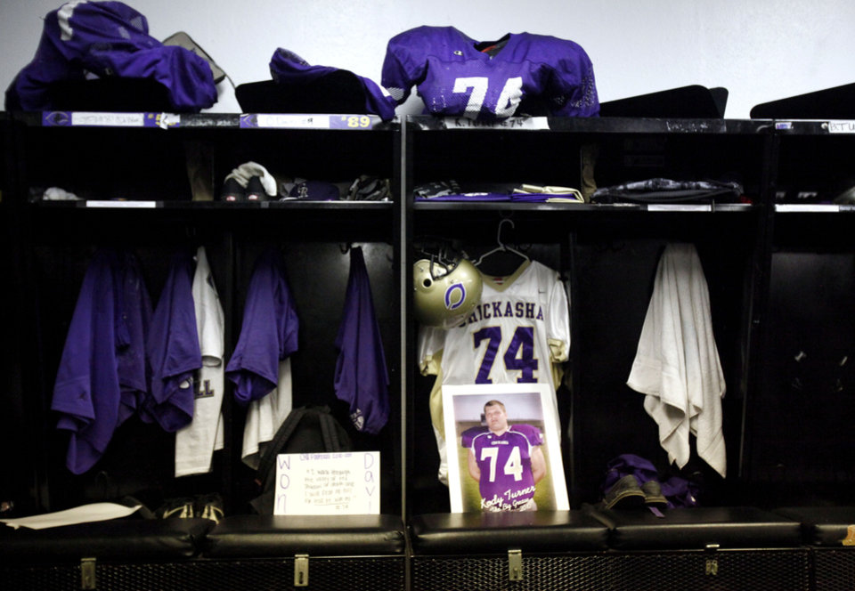 Kody Turner's locker is pictured in the Chickasha locker room before the football game between Chickasha and Capitol Hill at Chickasha High School, Friday, Oct. 1, 2010.  It was the first home game since the death of player Kody Turner. Photo by Sarah Phipps, The Oklahoman