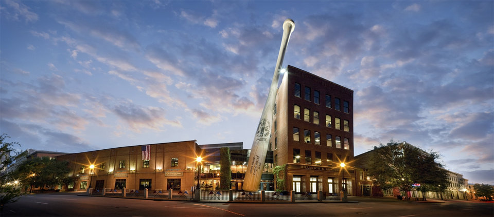 Photo - This undated image released by the Louisville Slugger Museum & Factory shows the exterior of their building in Louisville, Ky. Visitors can trace that baseball heritage along the Louisville Slugger Walk of Fame, stretching about a mile from the Louisville Slugger Museum & Factory to the city's minor-league ballpark. (AP Photo/Hillerich & Bradsby, James Moses)