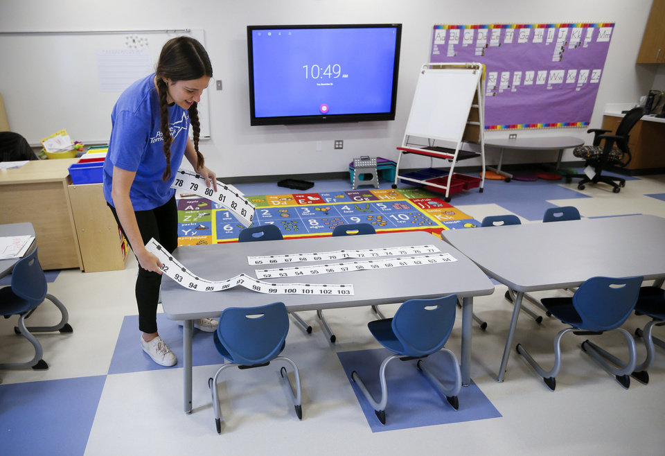 Photo - Teacher Sarah Sheldon sets up her kindergarten/first grade classroom at the new facility for Positive Tomorrows, a school for homeless children, at 901 N Villa in Oklahoma City, Tuesday, Nov. 26, 2019. [Nate Billings/The Oklahoman]