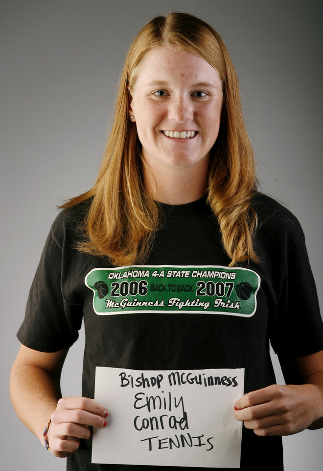 Photo - GIRLS TENNIS: Emily Conrad of Bishop McGuinness during all-city photo day on Tuesday, May 22, 2007.  By Bryan Terry, The Oklahoman ORG XMIT: KOD