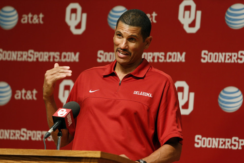 Co-offensive coordinator Jay Norvell speaks during media access day for the University of Oklahoma Sooner (OU) football team in the Adrian Peterson meeting room in Gaylord Family-Oklahoma Memorial Stadium in Norman, Okla., on Saturday, Aug. 3, 2013. Photo by Steve Sisney, The Oklahoman