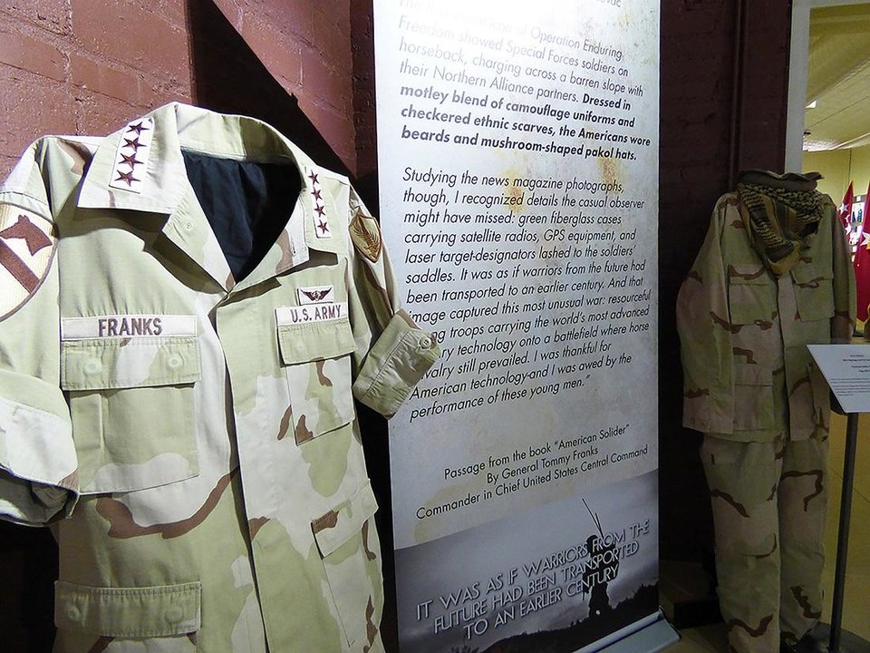 "Photo - The General Tommy Franks Leadership Institute and Museum in Hobart is displaying its special exhibit, ""Task Force Dagger,"" featuring the Horse Soldiers of Afghanistan, through Nov. 30. This exhibit tells the story of the Joint Special Operations Task Force North, otherwise known as Task Force Dagger. [Photo provided]"