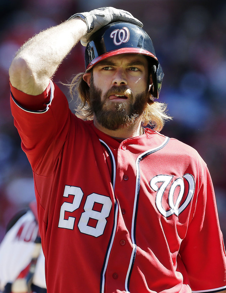 Photo -   Washington Nationals' Jayson Werth reacts after striking out during the first inning of Game 1 of the National League division baseball series against the St. Louis Cardinals, Sunday, Oct. 7, 2012, in St. Louis. (AP Photo/Charlie Riedel)