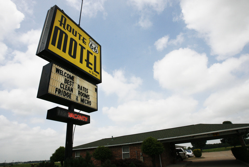 The Route 66 Motel sign in Afton, Okla., on Tuesday, June 19, 2007. By James Plumlee, The Oklahoman.