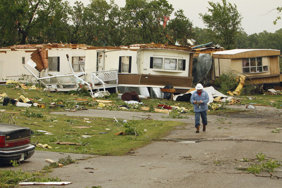 Priarie Creek Village mobile home park received heavy damage in Noble, Oklahoma on Monday, May 10, 2010.  Photo by Steve Sisney, The Oklahoman