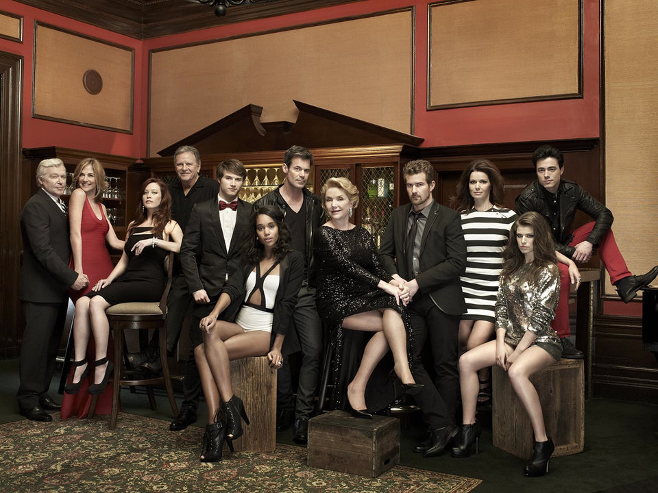 "Photo -  Some of the cast from ""One Life to Live"" -  (L-R) - Jerry verDorn, Kassie DePaiva, Melissa Archer, Robert S. Woods, Andrew Trischitta, Laura Harrier, Tuc Watkins, Erika Slezak, Josh Kelly, Florencia Lozano, Kelley Missal, Robert Gorrie - Photo Credit: Chapman Baehler; Styling by George Kotsiopoulos"