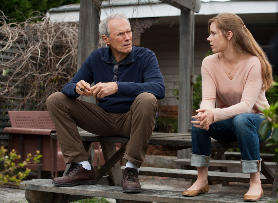 "(L–r) CLINT EASTWOOD as Gus and AMY ADAMS as Mickey in Warner Bros. Pictures' drama ""TROUBLE WITH THE CURVE,"" a Warner Bros. Pictures release."