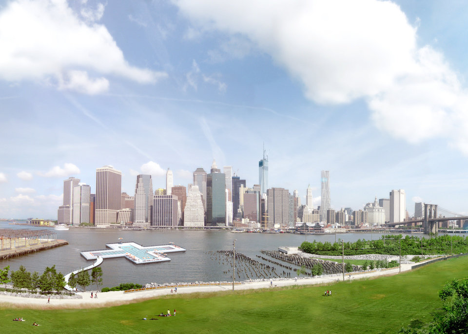 This artist's rendering provided by Plus Pool, on Tuesday, April 22, 2014, shows the proposed floating pool which is to be positioned in New York's East River close to the Brooklyn shore. The pool, which is scheduled to open in 2016, would be the first of its kind because it's made of filtration material designed to make dirty river water safe for swimming. The Manhattan skyline is in the background. (AP Photo/Plus Pool)