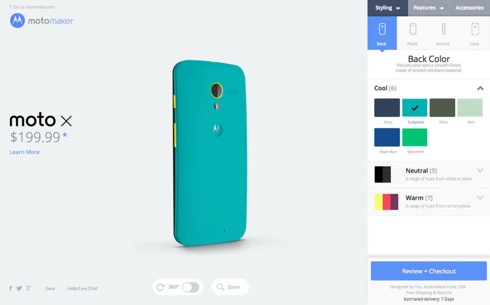 Pictured is a screengrab of Moto Maker, which allows users to customize their Moto X smartphone. <strong></strong>