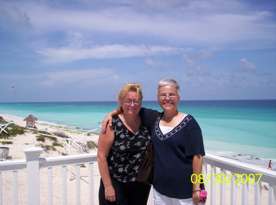 Me and my best friend Sherry at Cancun.  It was my first time to fly on a jet and my first time to see and swim in an ocean!  We were there to celebrate our 50th Birthdays together.  It was gorgeous!<br/><b>Community Photo By:</b> Teresa Chapman<br/><b>Submitted By:</b> Teresa, Bethany
