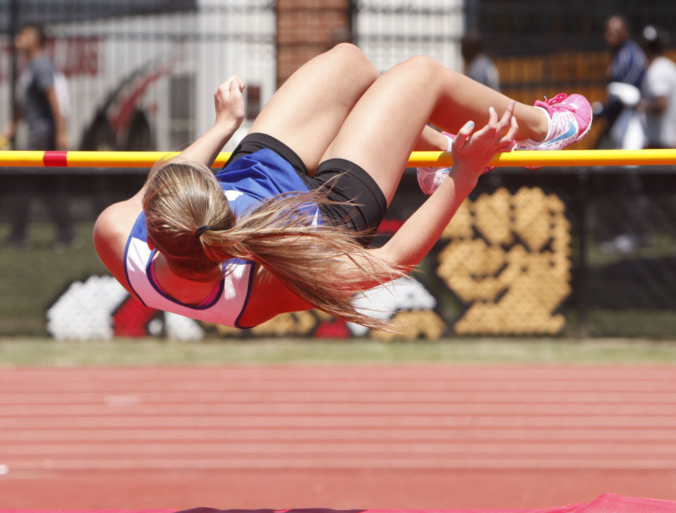 Choctaw's Kara Mickle clears the bar of the girl's high Jump during the 5A and 6A State Track Meet in Yukon, OK, Saturday, May 11, 2013,  By Paul Hellstern, The Oklahoman