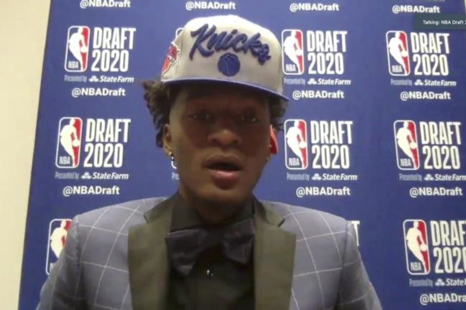 Photo -  Kentucky's Immanuel Quickley speaks to reporters by video Wednesday. The draft pick was made by Oklahoma City and the trade to the New York Knicks hadn't been announced by the time Quickley was drafted, but Wildcats coach John Calipari confirmed the deal in an interview with ESPN. [Courtesy NBA via AP]