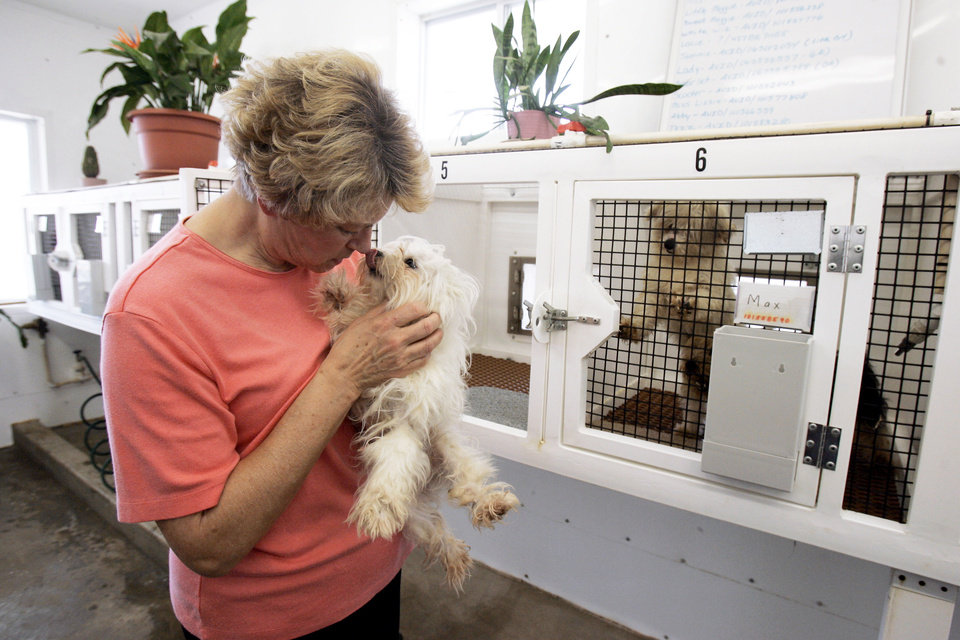 "Louise Loeb holds a puppy March 23 at her Loeb-A-Rosa Kennels in Owensville, Mo. The kennel is is part of a state ""Blue Ribbon"" program of 11 ""elite kennels"" that are held to higher standards. AP PHOTO"