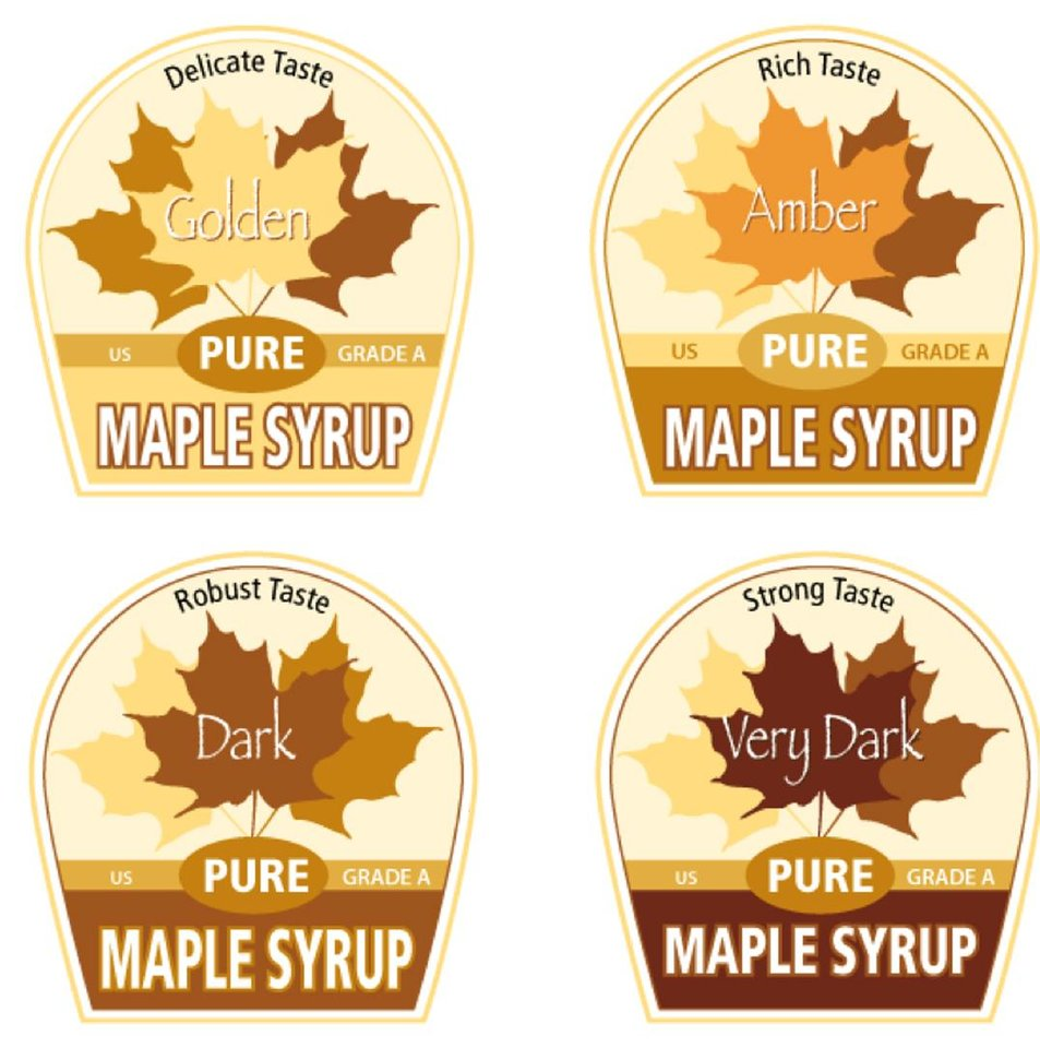 In this graphic by Cedarlane Studio of Spencerville, Ontario, proposed new labels for maple syrup are shown. Vermonters have grown accustomed to their �fancy� �amber� and �grade B� types of maple syrup but new consumers may not be so sweet on the terms. So the country�s largest producer of the pancake topping is thinking of doing away with those terms and adopting new international names with flavor descriptions to help consumers delineate between four different colored and flavored syrups and to match new worldwide terms. The four classifications would be golden color, delicate taste; amber color, rich taste; dark color, robust taste; and very dark color, strong taste. (AP Photo/Cedarlane Studio of Spencerville, Ontario)