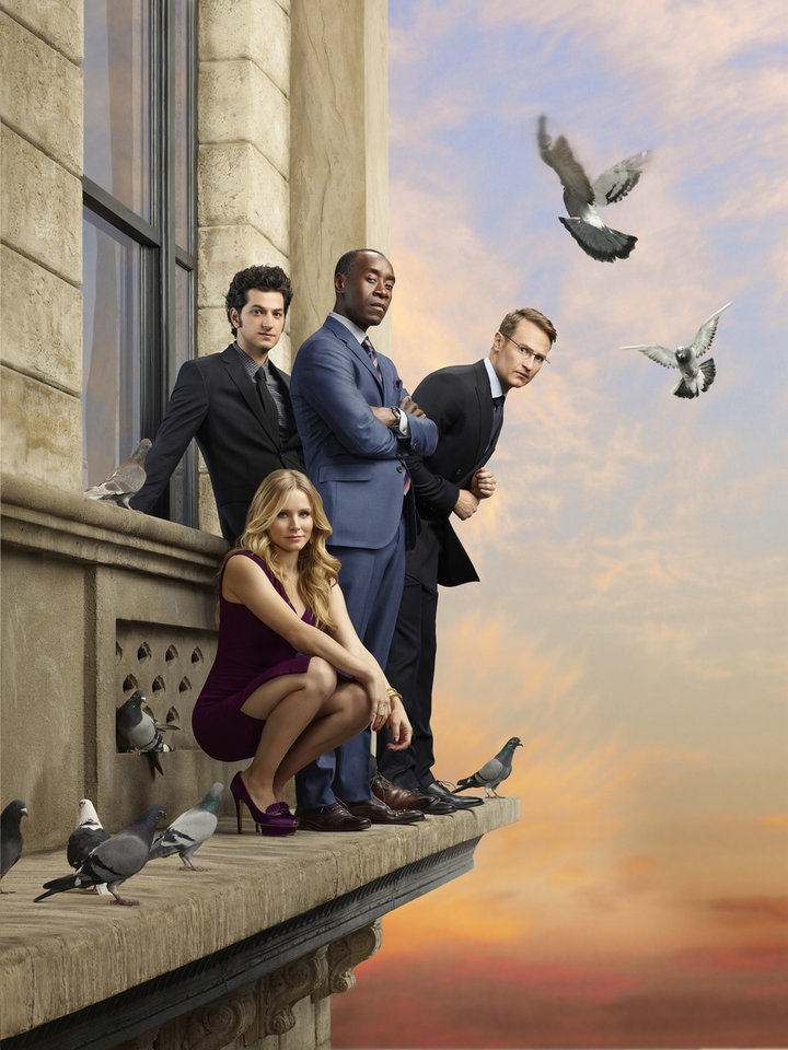 House of Lies (Season 2) Pictured: (L-R) Ben Schwartz as Clyde Oberholt,Kristen Bell as Jeannie Van Der Hooven, Don Cheadle as Marty Kaan and Josh Lawson as Doug in House of Lies - Photo: Jill Greenberg/SHOWTIME - Photo ID: HouseOfLies_galS2_LEDGEGROUP_004_FINAL