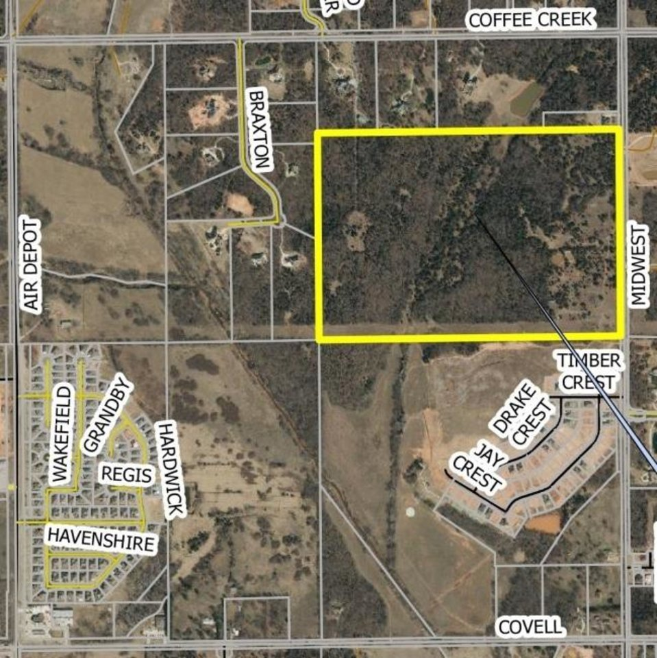 Photo -  The rectangle outlines the 110 acres that would be Arcadia Peak, on the west side of Midwest Boulevard, south of Coffee Creek Road in Edmond. [IMAGE PROVIDED/CITY OF EDMOND]