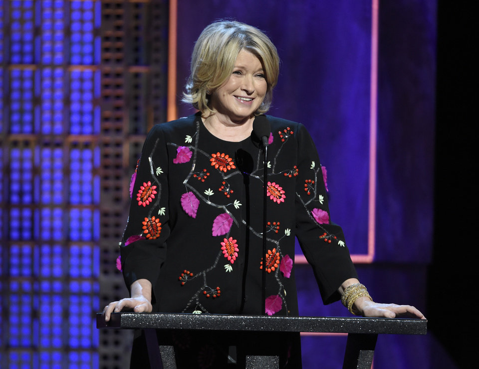 Photo - FILE - In a Saturday, March 14, 2015 file photo, Martha Stewart speaks at the Comedy Central Roast of Justin Bieber at Sony Pictures Studios, in Culver City, Calif. Stewart, Ina Garten, and Anthony Bourdainremain the names to beat in food broadcasting. For a second year running, the three dominated the top tier of television awards by the James Beard Foundation, winning for the same shows in the same categories as in 2014.(Photo by Chris Pizzello/Invision/AP, File)