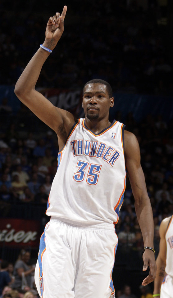 Oklahoma City\'s Kevin Durant (35) celebrates a free throw during the NBA basketball game between the Oklahoma City Thunder and the Sacramanento Kings at Chesapeake Energy Arena in Oklahoma City, Tuesday, April 24, 2012. Photo by Sarah Phipps, The Oklahoman.