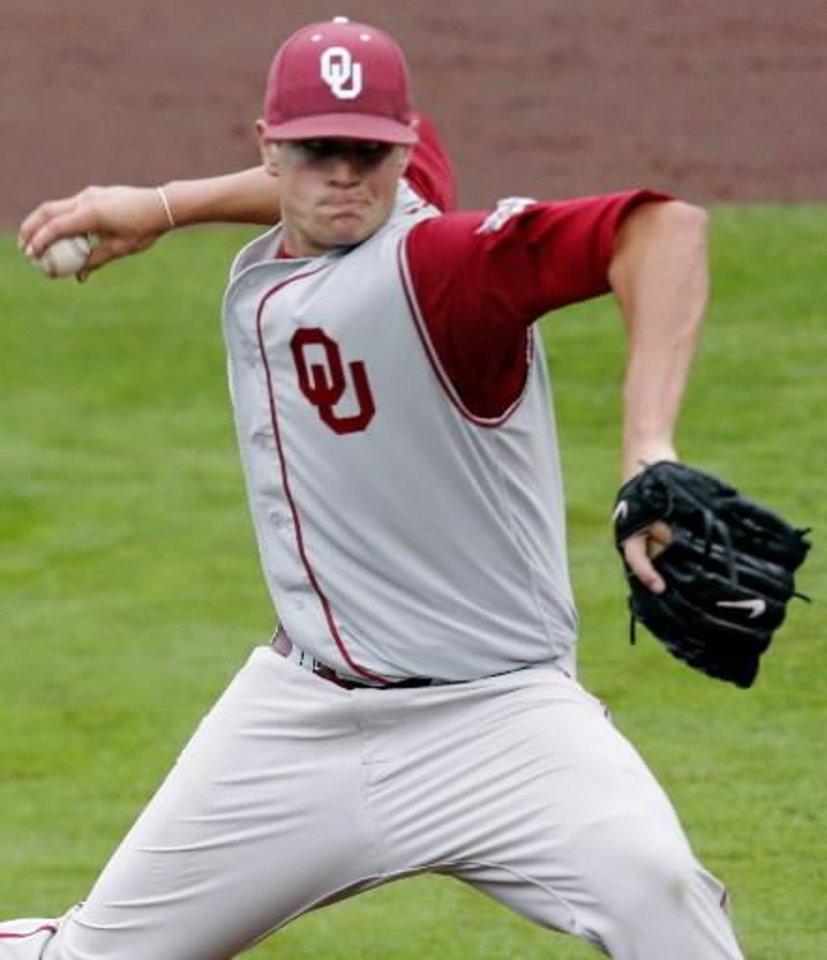 Oklahoma's  Garrett  Richards throws to Oklahoma State during their game at the AT&T Bricktown Ballpark in Oklahoma City on Sunday, May 10, 2009. The Cowboys beat the Sooners 5-1. Photo by John Clanton