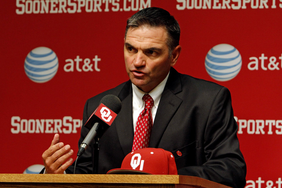 Photo - Pete Hughes is introduced as the University of Oklahoma (OU) Sooners new baseball coach on Thursday, June 27, 2013 in Norman, Okla. Photo by Steve Sisney, The Oklahoman