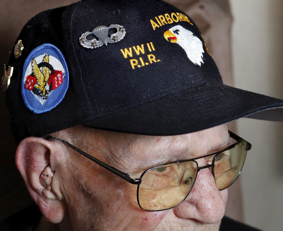 "Jake McNiece, 93, was a paratrooper with 101st Airborne who parachuted behind enemy lines in northern France and led a team of men dubbed the ""Filthy 13"" on a demolition mission in advance of the Allied Forces D-Day invasion of beaches at Normandy on  June 6, 1944.  McNiece is photographed at his home in Ponca City on Monday, June 4,  2012,    Photo by Jim Beckel, The Oklahoman"