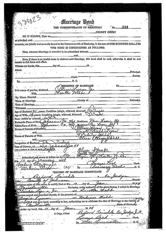 Photo -   An undated image provided by the Johnson County, Ky., clerk's office shows Loretta Lynn's marriage certificate for her marriage to Oliver Vanetta Lynn, Jr. Newly discovered documents indicate country music legend Lynn is three years older than she has led people to believe, a change that casts shadows on the story told in