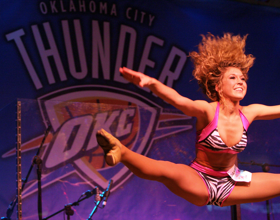 Photo - Megan dances during auditions for the OKC Thunder dance team, at Toby Keith's I Love this Bar and Grill, in Oklahoma City, Thursday, Sept. 11, 2008 BY MATT STRASEN, THE OKLAHOMAN.