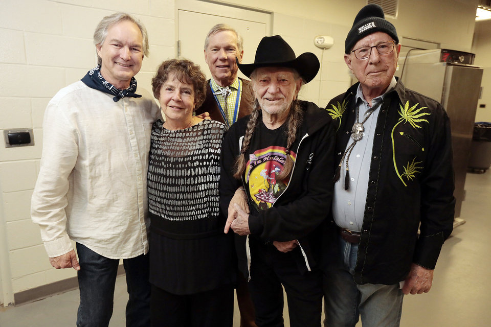 Photo - Don Prescott, Clarke Abbey, Steve Prescott, Willie Nelson, Gene Rainbolt. PHOTO PROVIDED