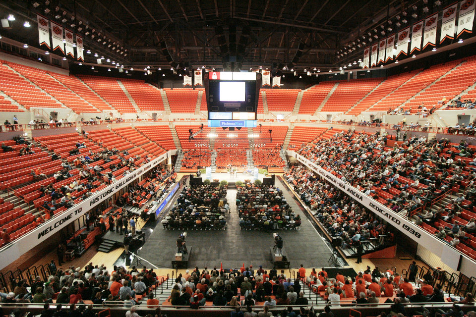 Photo - A view of Gallagher-Iba Arena in Stillwater during T. Boone Pickens' town hall meeting. Photo by Steve Gooch, The Oklahoman