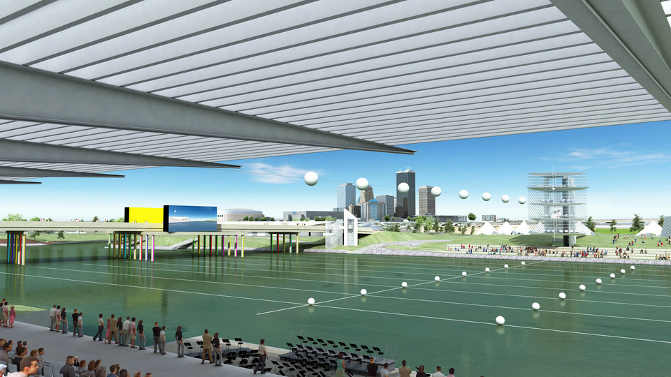 Photo - An artist's drawing gives a spectator's view from a proposed grandstand along the Oklahoma River. MAPS 3 includes $60 million for river improvements.