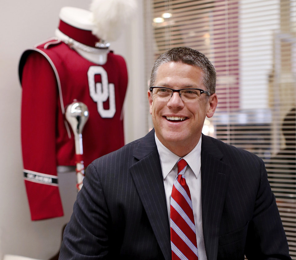 Photo - OU band director Brian Britt in his office in the Catlett Music Center on the University of Oklahoma campus. Photo goes with a story about his return to OU to lead the Pride of Oklahoma. Photo taken Thursday, Nov. 20, 2014.  Photo by Jim Beckel, The Oklahoman