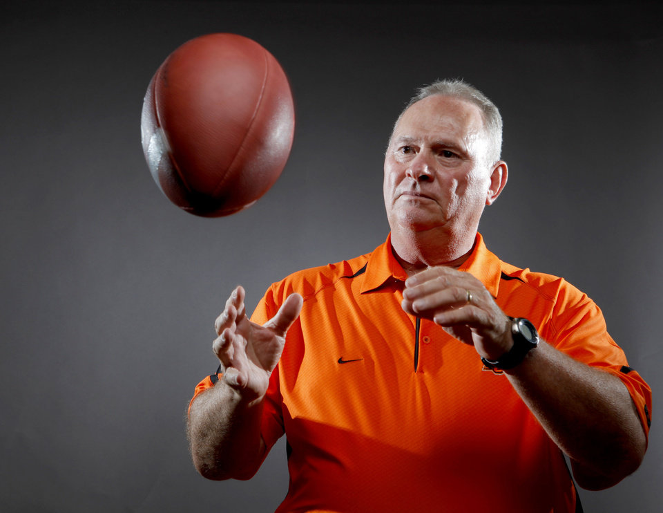 Oklahoma State defensive coordinator Bill Young\'s job gets tougher starting this week as the Cowboys start a stretch of games against the top offenses in the Big 12. Photo by Bryan Terry, The Oklahoman. BRYAN TERRY