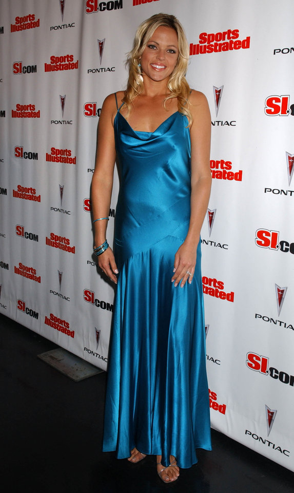Jennie Finch attends the 2005 Sports Illustrated Swimsuit Issue Press Conference, held at AER Lounge, Tuesday, February 15, 2005 in New York.  (AP Photo/Jennifer Graylock)
