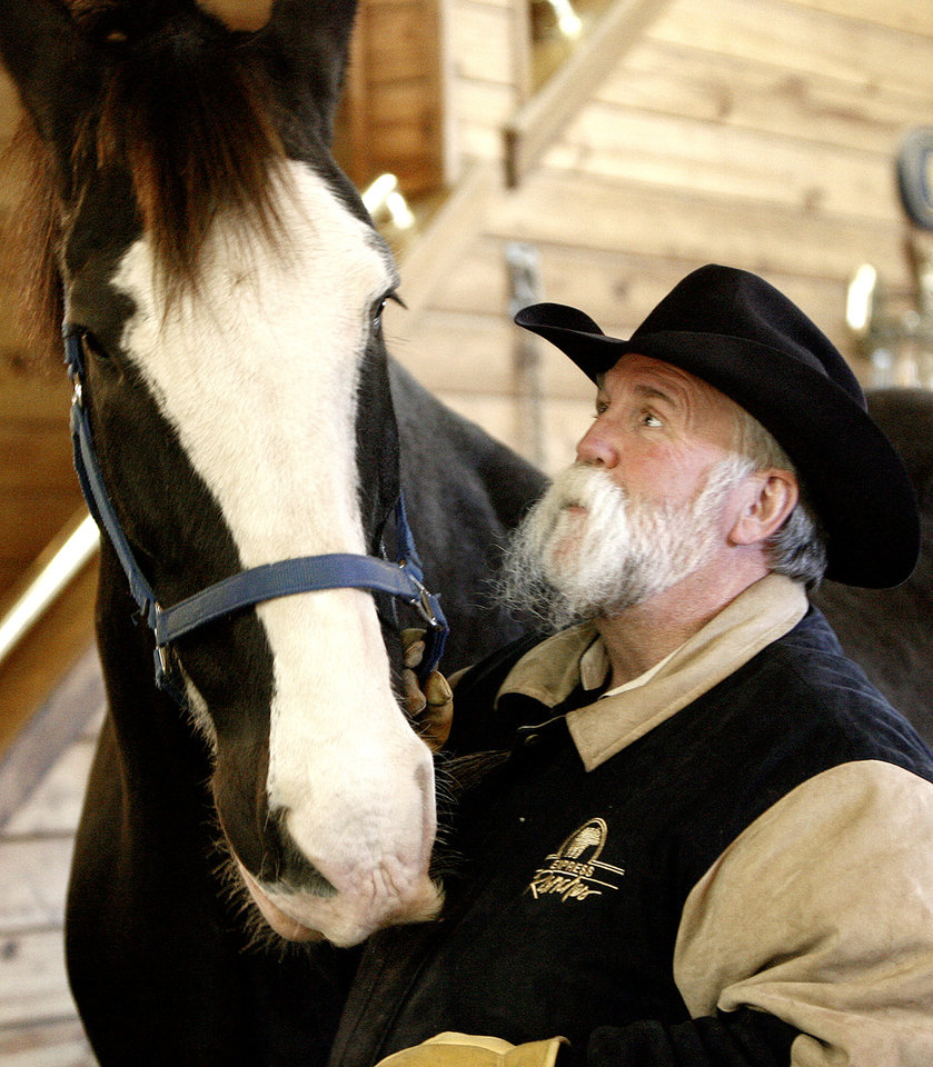Photo - Doug Sauter, head coach of the Oklahoma City Blazers CHL hockey team, is shown here with the only Clydesdale he owns, Hamish (a.k.a. Blazer), at the Express Clydesdale Center on Friday, January 18, 2008. The center is a short walk from Sauter's Yukon home. BY SARAH PHIPPS, THE OKLAHOMAN ORG XMIT: KOD