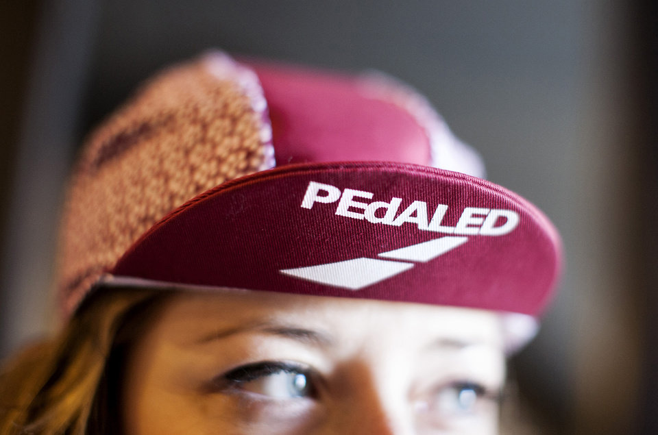 Photo - For those who use bicycles for commuting to work or errands, cycling fashion is going from spandex to multi-functional such as this PEdALED cap. (Courtney Perry/Minneapolis Star Tribune/MCT)