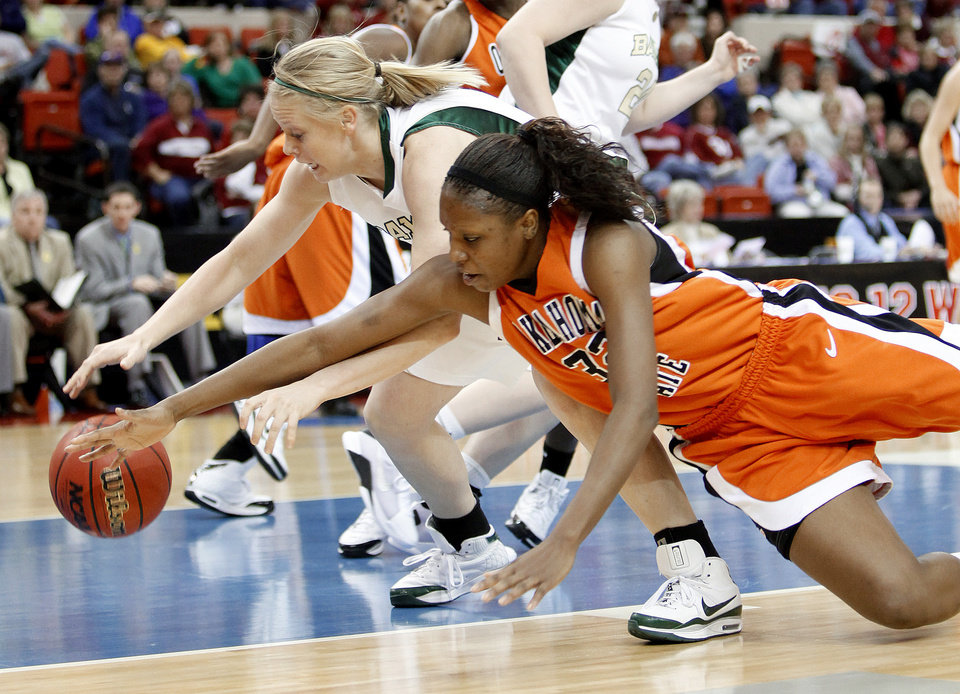 OSU's Shaunte' Smith and Baylor's Melissa Jones go for a loose ball during the Big 12 Women's Championship game between Oklahoma State and Baylor at the Cox Center in Oklahoma City, Friday, March 13, 2009.  PHOTO BY BRYAN TERRY, THE OKLAHOMAN