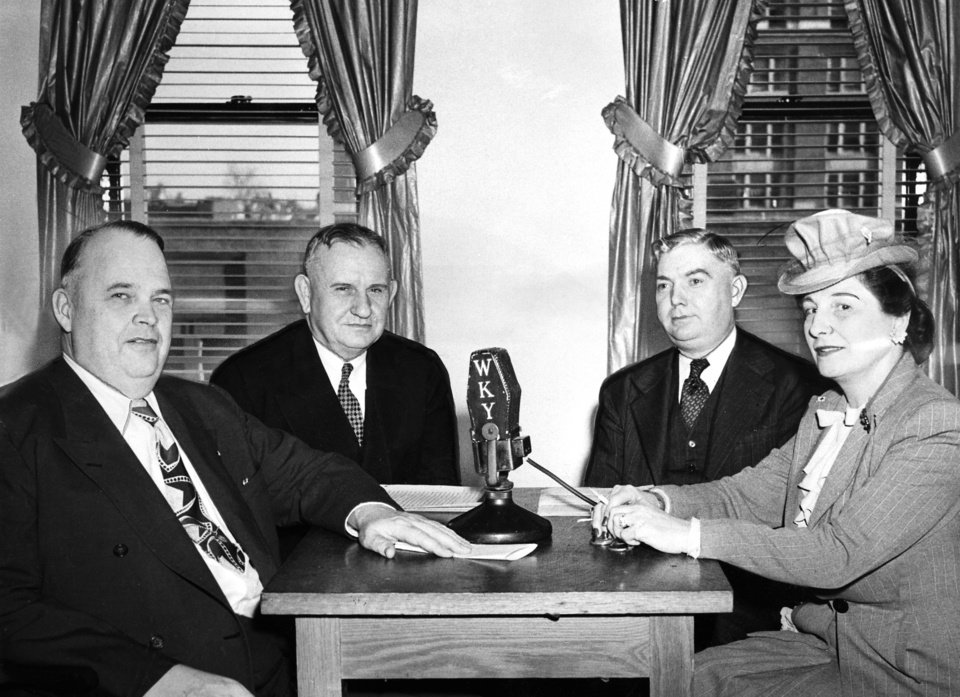 "ROBERT S KERR / GOVERNOR / OKLAHOMA:  ""Arbor Day Program---In honor of Arbor Day, Helen Barr interviewed Governor (Robert S.) Kerr, Senator Thomas Finney (state senator) and John Vaughan (president of Northeastern State college) on WKY's (WKY Radio) Garden School of the Air.  The three men have been largely instrumental for the reforestation program being carried on in southeastern Oklahoma."" Staff photo probably taken about 3/16/45; photo ran in the 3/17/45 Daily Oklahoman."