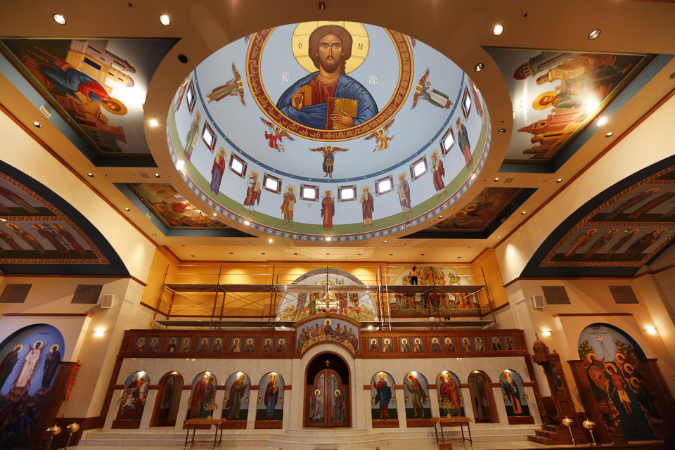 Photo - A recent iconography project at St. Elijah Orthodox Christian Church, added colorful iconography to the upper walls near the church's altar area. This iconography joins resplendent iconography inside the church's dome that represents Christ in the heavens.