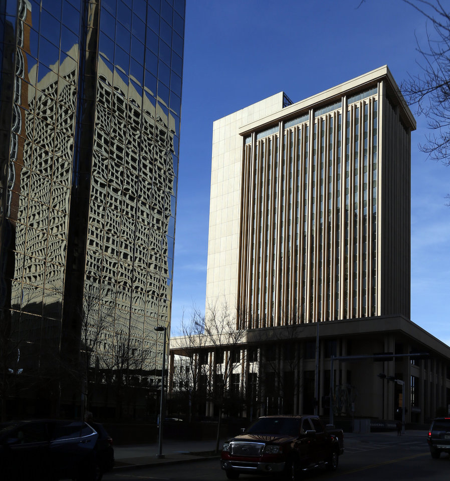 Photo -  Employees at Bank of Oklahoma Plaza, 201 Robert S. Kerr Ave., have moved into the newly built BOK Park Plaza a few blocks away. [PHOTO BY STEVE SISNEY, THE OKLAHOMAN]