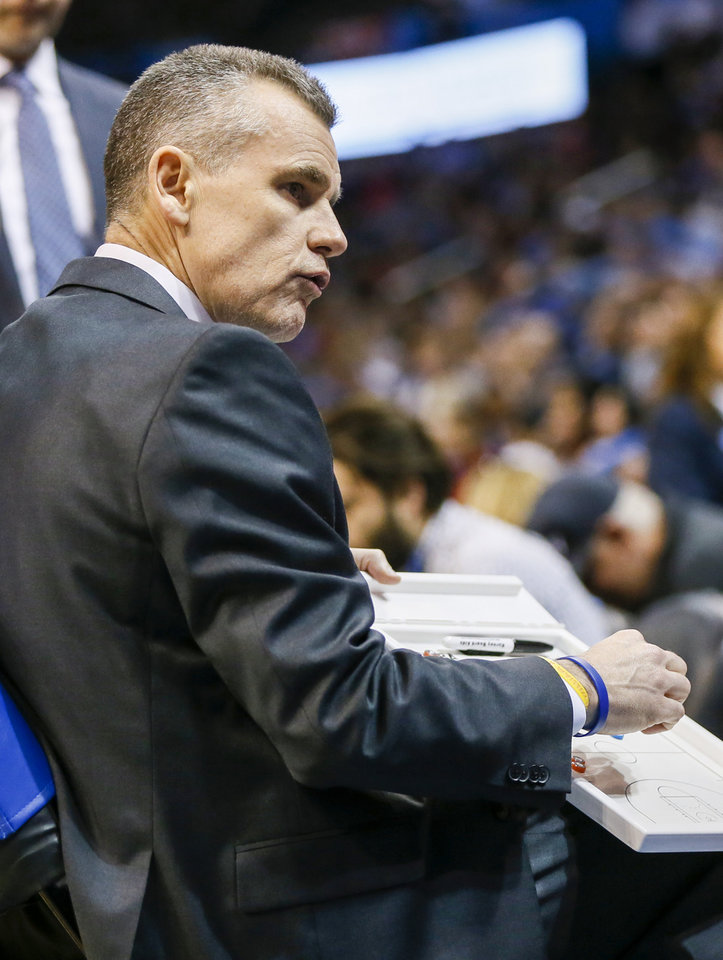 Photo - Oklahoma City coach Billy Donovan talks to his team in a timeout during an NBA basketball game between the Indiana Pacers and the Oklahoma City Thunder at Chesapeake Energy Arena in Oklahoma City, Wednesday, March 27, 2019. Photo by Nate Billings, The Oklahoman