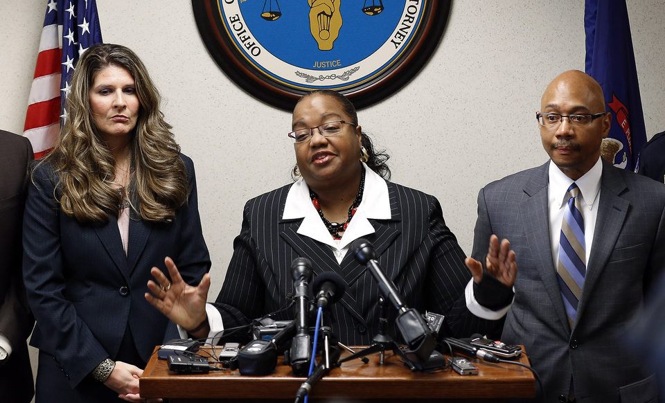 Photo - Wayne County Prosecutor Kym Worthy announces second-degree murder charges against Theodore P. Wafer, 54, of Dearborn Heights, during a news conference in Detroit Friday, Nov. 15, 2013. Wafer also faces a manslaughter charge in the death of Renisha McBride in the early-morning hours of Nov. 2. (AP Photo/Paul Sancya)