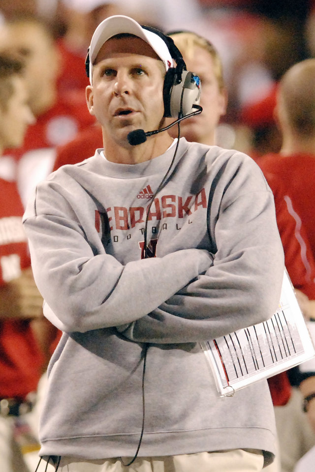 Photo - ** FILE ** In this Oct. 4, 2008 file photo, University of Nebraska head coach Bo Pelini looks at the score board in the first quarter of an NCAA college football game against University of Missouri, in Lincoln, Neb.The Cornhuskers (3-2, 0-1 Big 12) go into Saturday's game at No. 7 Texas Tech off back-to-back losses to Virginia Tech and Missouri. (AP Photo/Dave Weaver, File) ORG XMIT: NY165